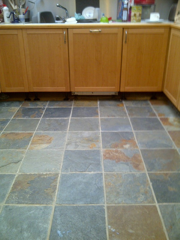 Kitchen Slate Floor Before