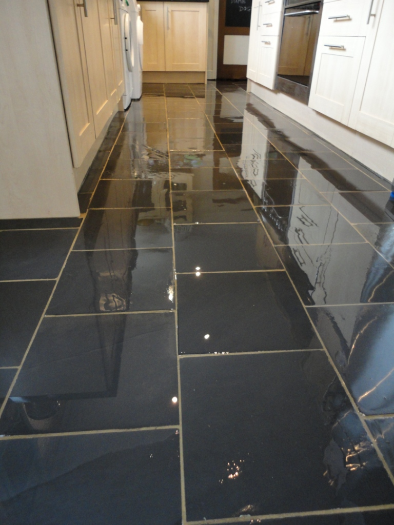 Dull and stained semi riven black slate floor tiles in kettering semi riven black slate floor cleaned sealed dailygadgetfo Gallery