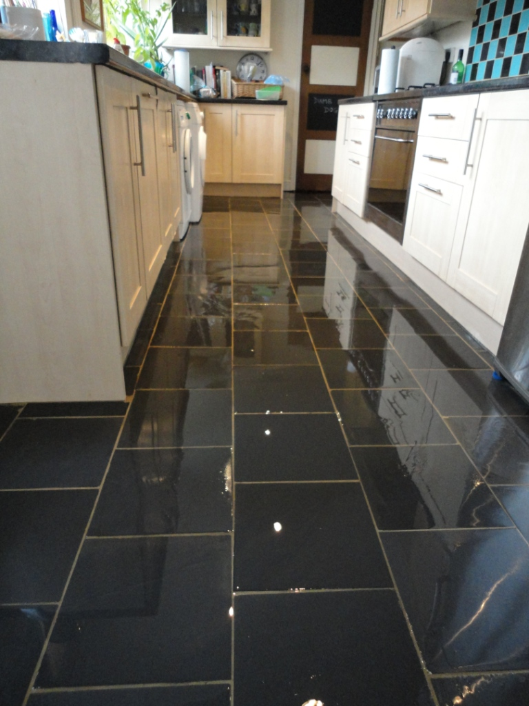 Semi Riven Black Slate floor cleaned sealed