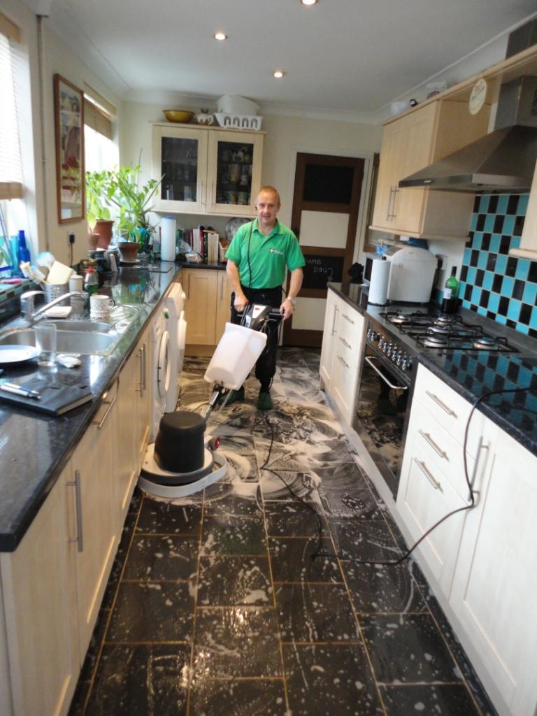 Semi Riven Black Slate floor scrubbing