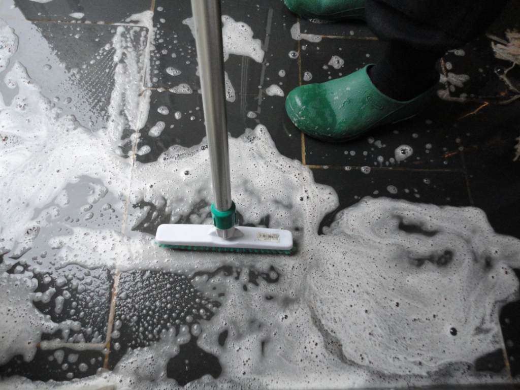 Semi Riven black slate floor grout scrubbing