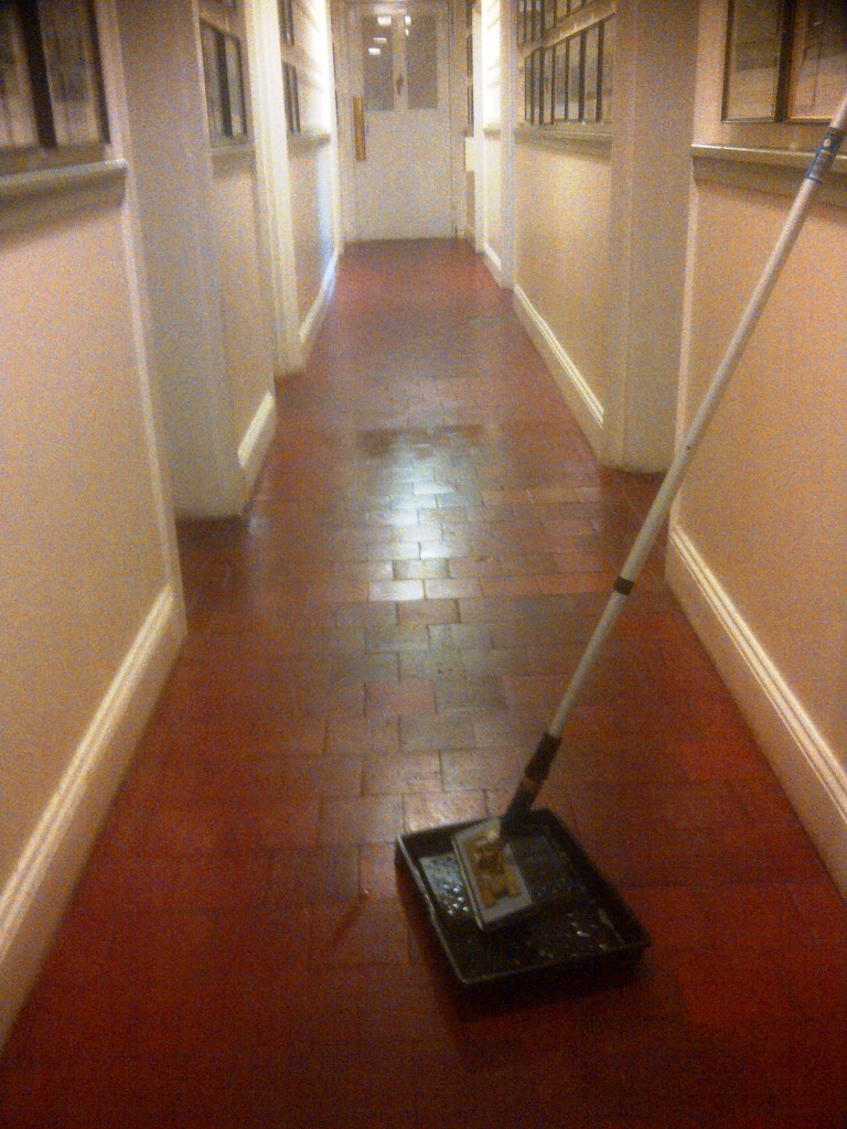Quarry Tiles Cleaned Applying Sealer