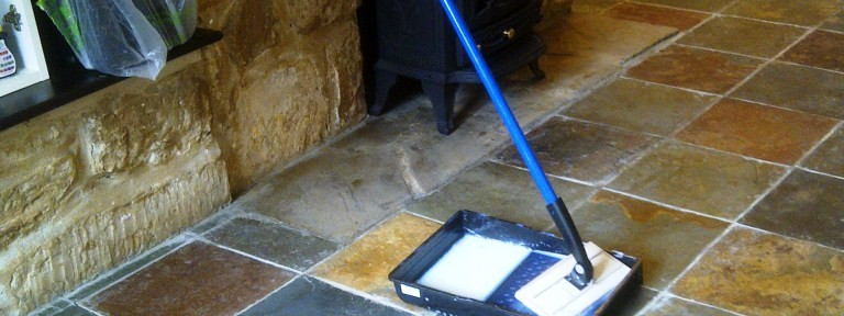 Cleaning and Sealing Chinese Slate Floor in Kingsthorpe