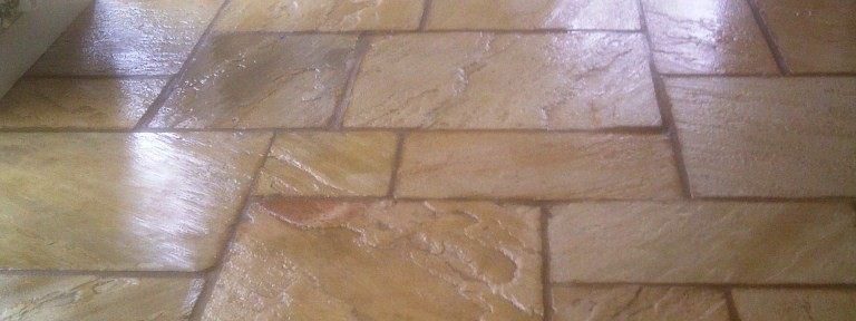 Cleaning and Sealing a dirty Sandstone Tiled Floor in Hannington
