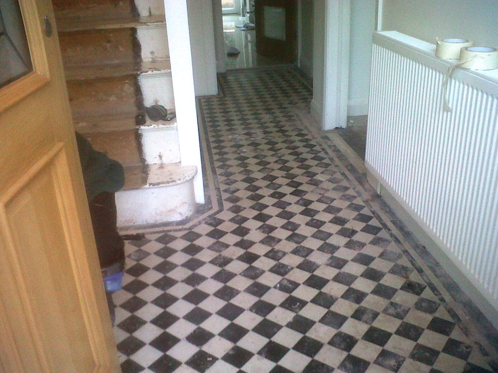 Victorian Tiles in Towcester Before Restoration