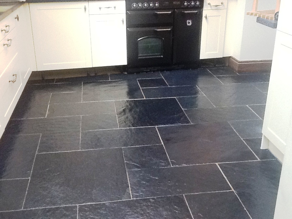 Welsh Black Rough Slate Kitchen After Cleaning And Sealing 1