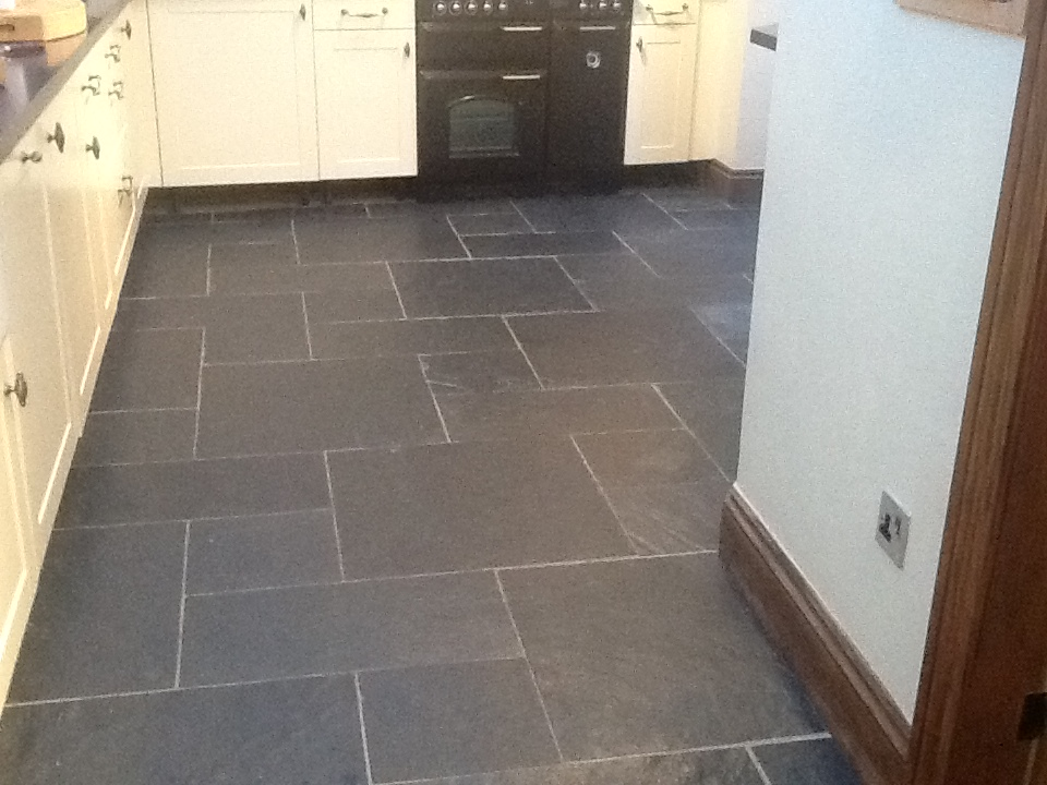 Welsh Black Rough Slate kitchen Before Cleaning 1