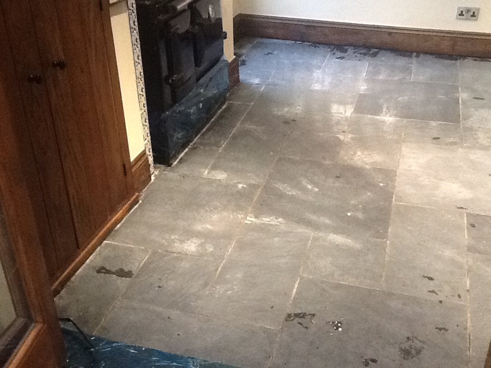 Welsh Black Rough Slate kitchen after Stripping