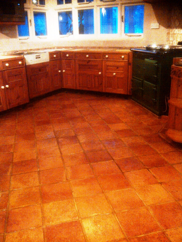 Quarry Tiled Kitchen Floor After Cleaning and Sealing
