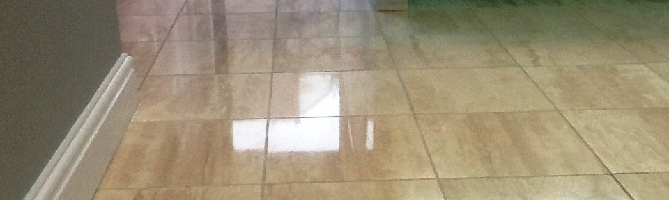Polished Marble Floor Covered in Grout Haze in Irthlingborough