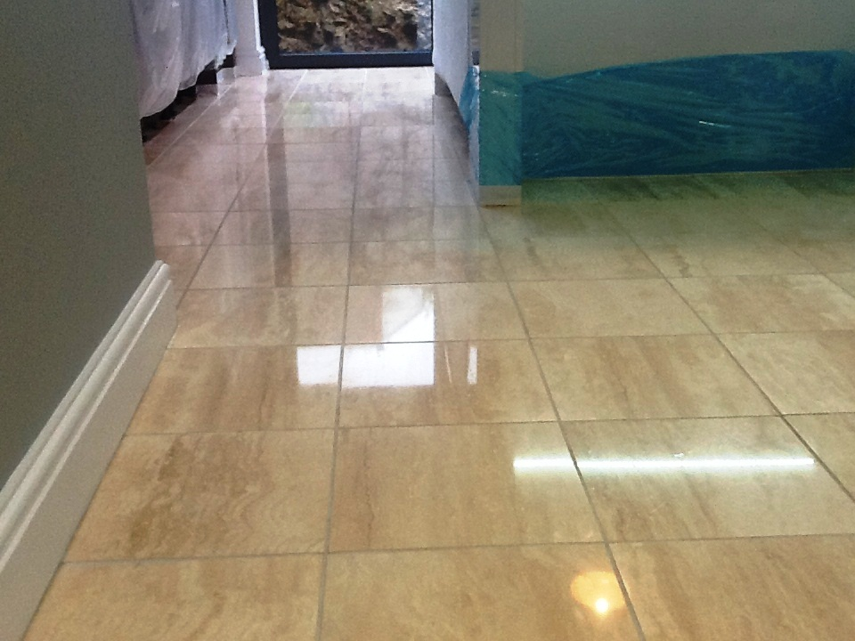 Marble Tiled Floor In Irthlingborough after cleaning