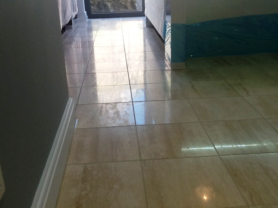 Marble Tiled Floor In Irthlingborough before cleaning