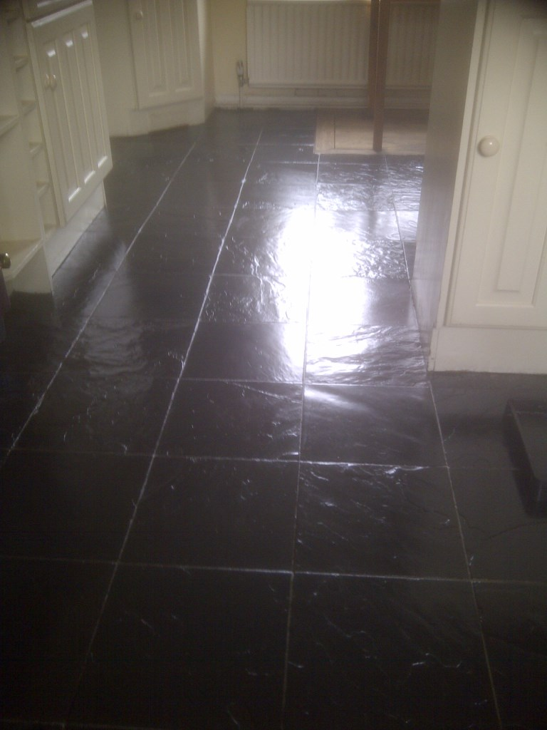 Slate floor after sealing Corby