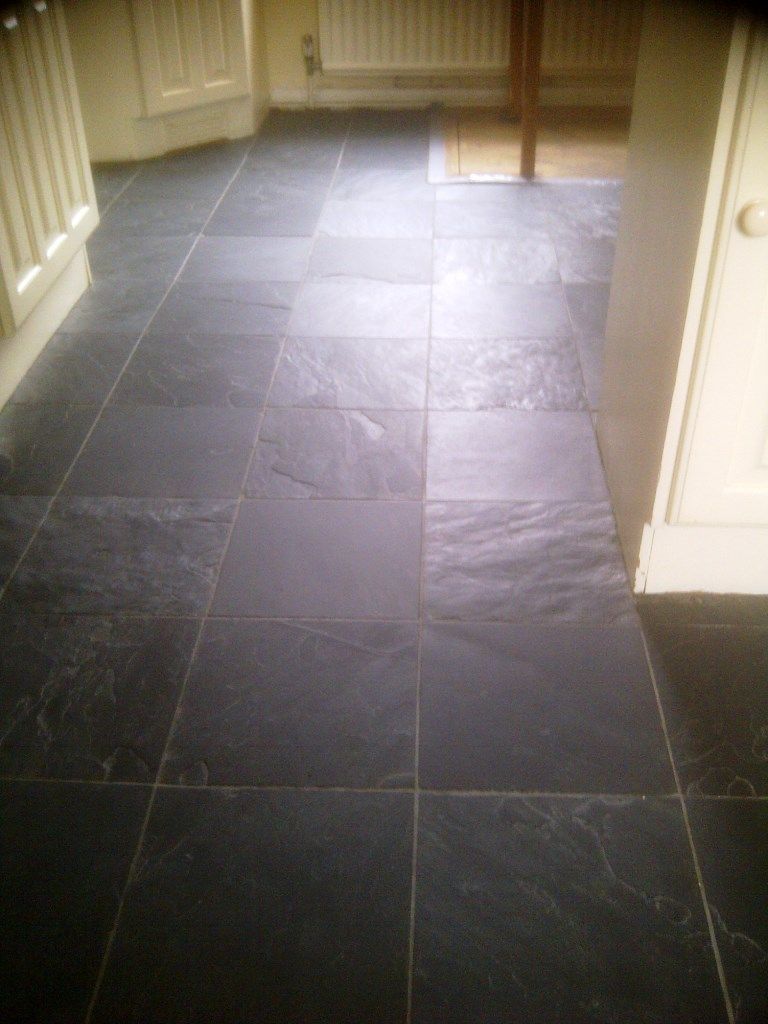Slate floor before cleaning Corby
