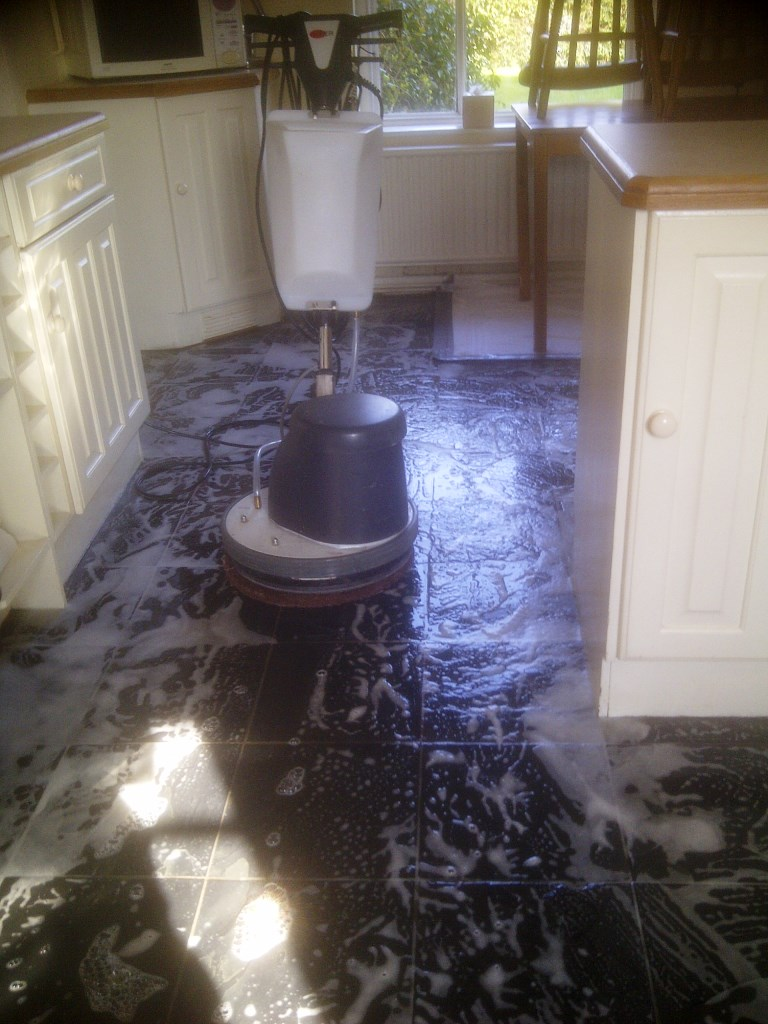 Slate floor during cleaning Corby