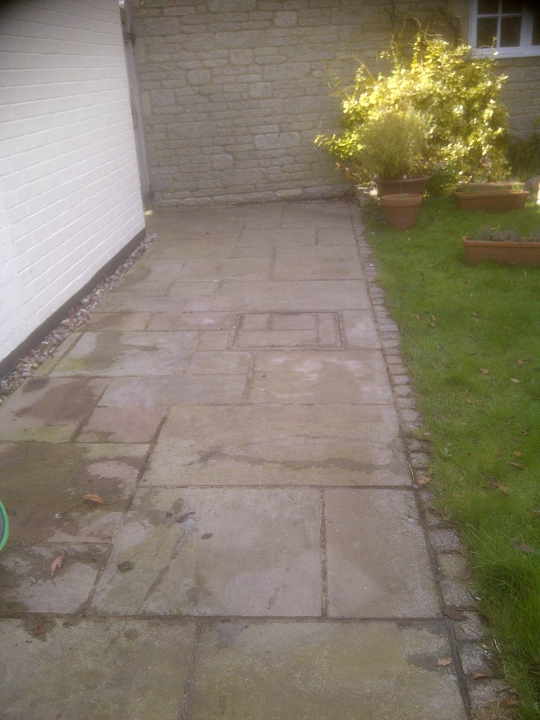 Paving Slabs in Achurch Before Cleaning