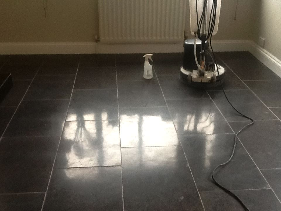 Black Marble in Brackley During Polishing