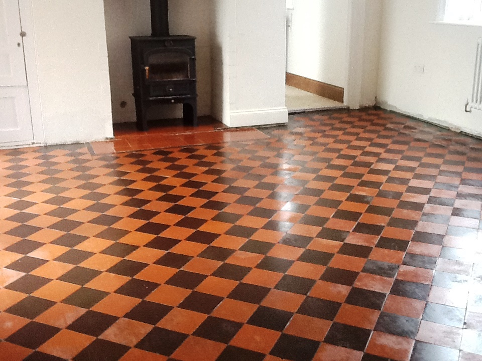 Red And Black Victorian Quarry Tiles hidden Under Lino Restored ...