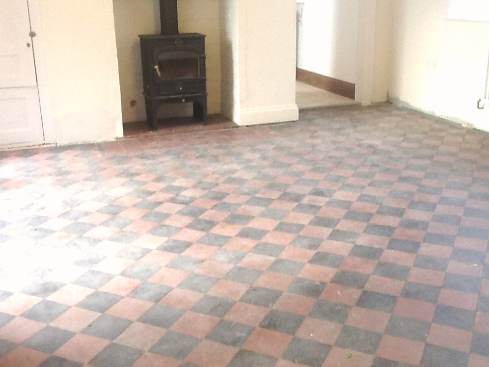 Red And Black Victorian Quarry Tiles Hidden Under Lino Restored