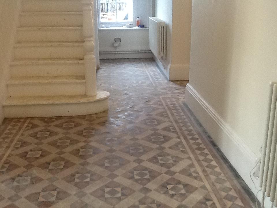 Victorian Hallway Tiles Builder Cleaning before in Northampton