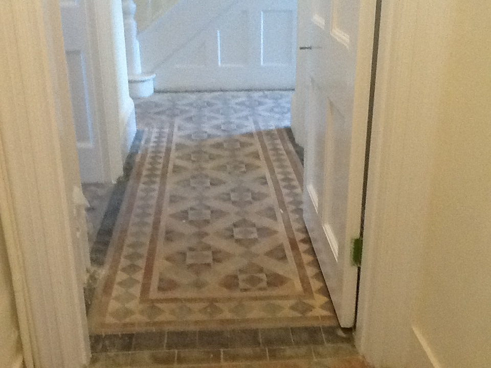 Victorian Hallway Tiles Builder Cleaning before in Northampton