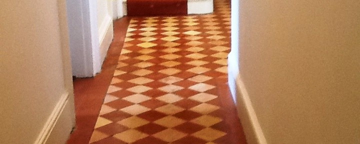 Quarry Tiled Hallway Cleaned and Restored in Hackleton
