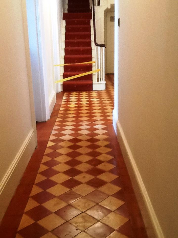Old Quarry tiled floor after restoration Hackleton
