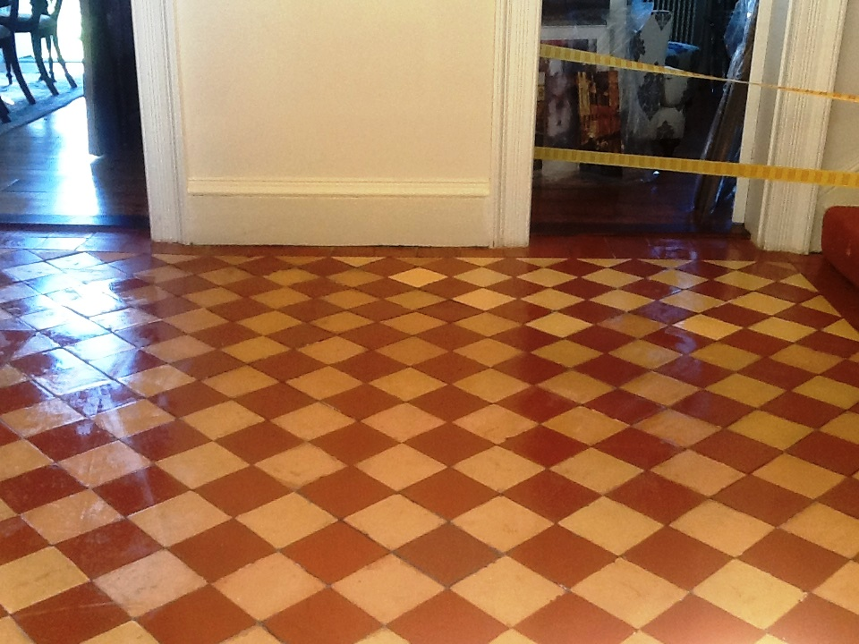Old Quarry tiled floor after restoration Hackleton