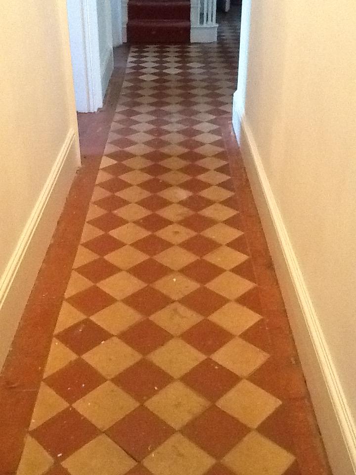 Old Quarry tiled floor before restoration Hackleton