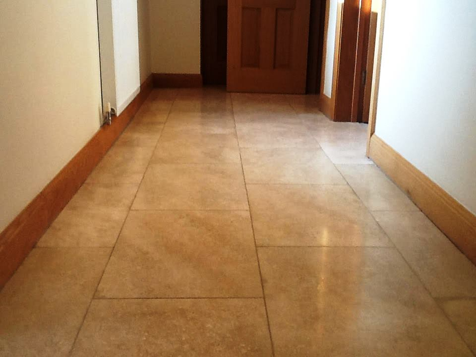 Stained Travertine Hallway Oundle After Cleaning