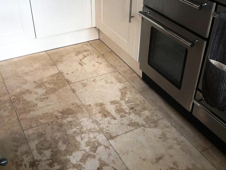 Stained Travertine Kitchen Oundle Before Cleaning