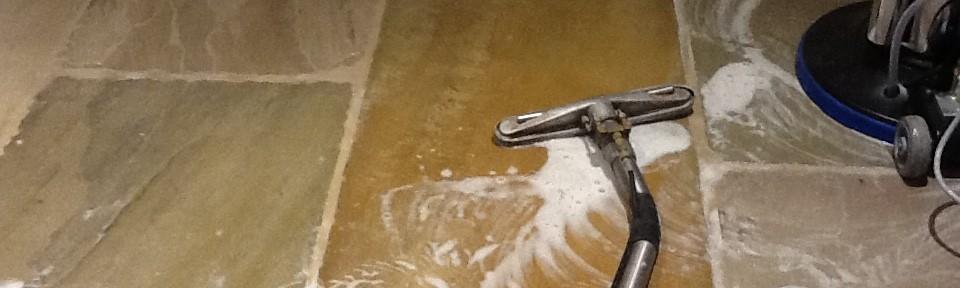 Sandstone Tiled Floor Treated For Grout Haze in Wappenham