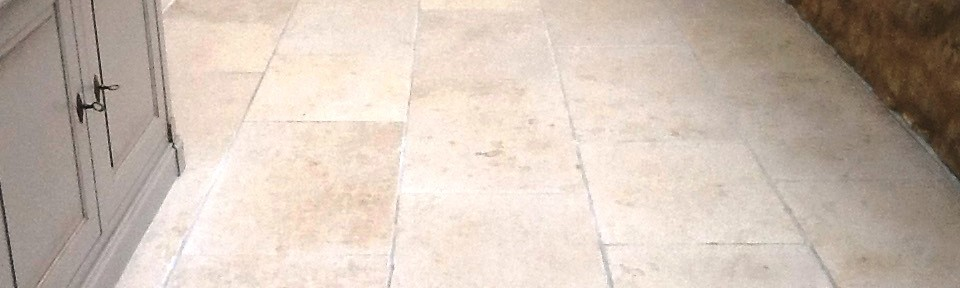 Cracked Limestone Conservatory Floor Restored in Grafton Underwood