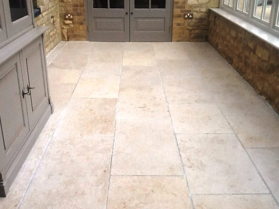 Limestone Tiled Conservatory Grafton Underwood After Polishing