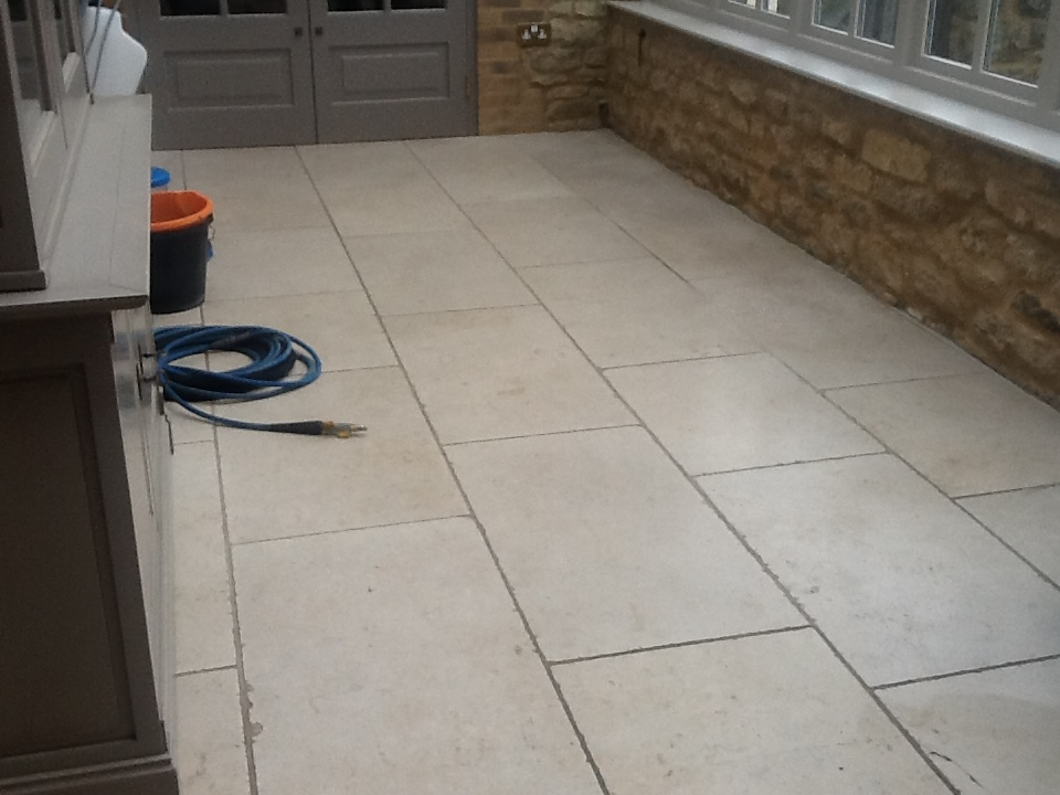 Limestone Tiled Conservatory Grafton Underwood Before Cleaning