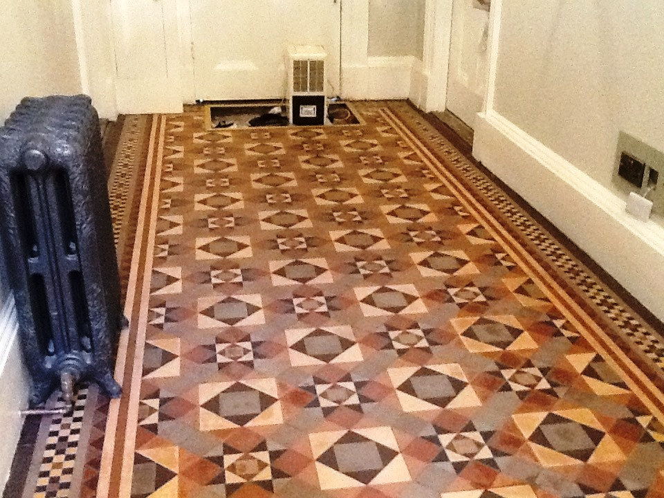 Victorian Tiles Stamford After Stripping and cleaning