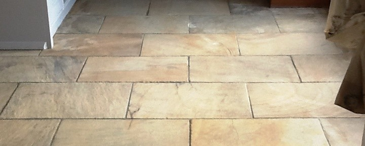 Heavily Soiled and Stained Sandstone Kitchen Tiles Cleaned and Sealed in Brockhall