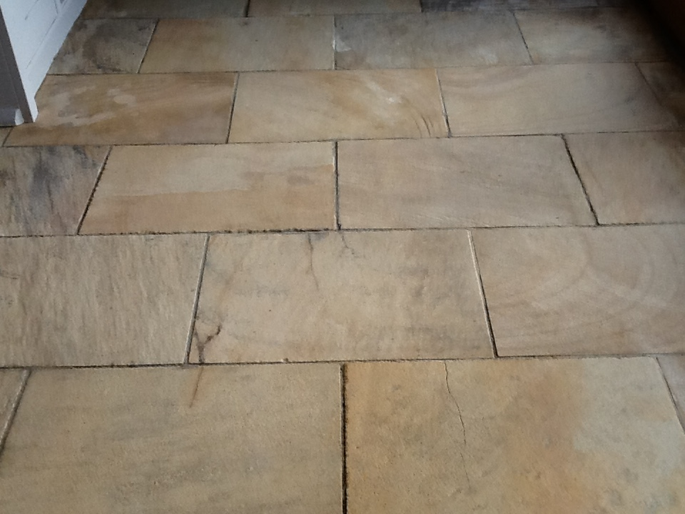 Sandstone Kitchen Floor After Sealing Brockhall