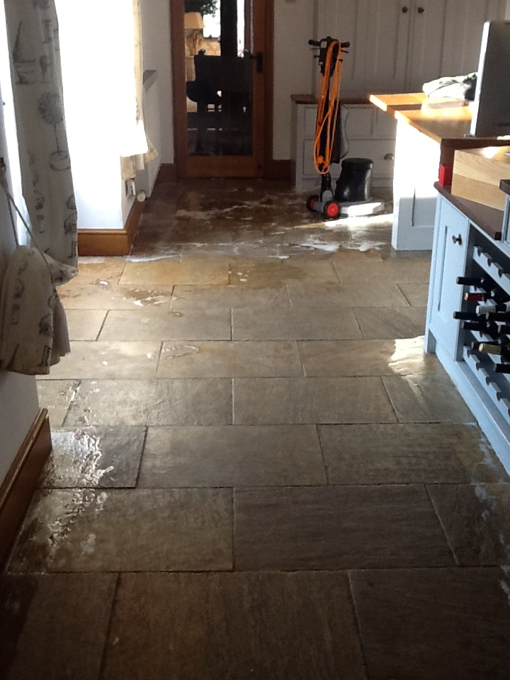 Sandstone Kitchen Floor Before Cleaning Brockhall