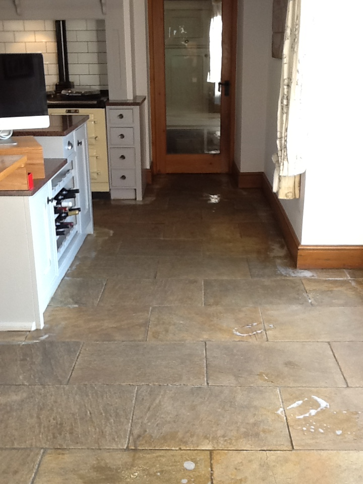 Sandstone Kitchen Floor Before Cleaning Brockhall