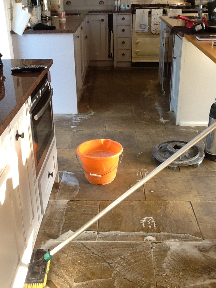 Sandstone Kitchen Floor During Cleaning Brockhall