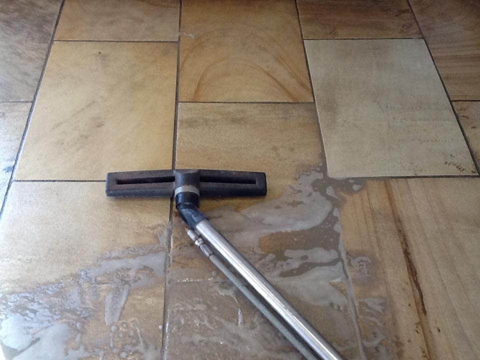 Sandstone Kitchen Floor During Cleaning Brockhall