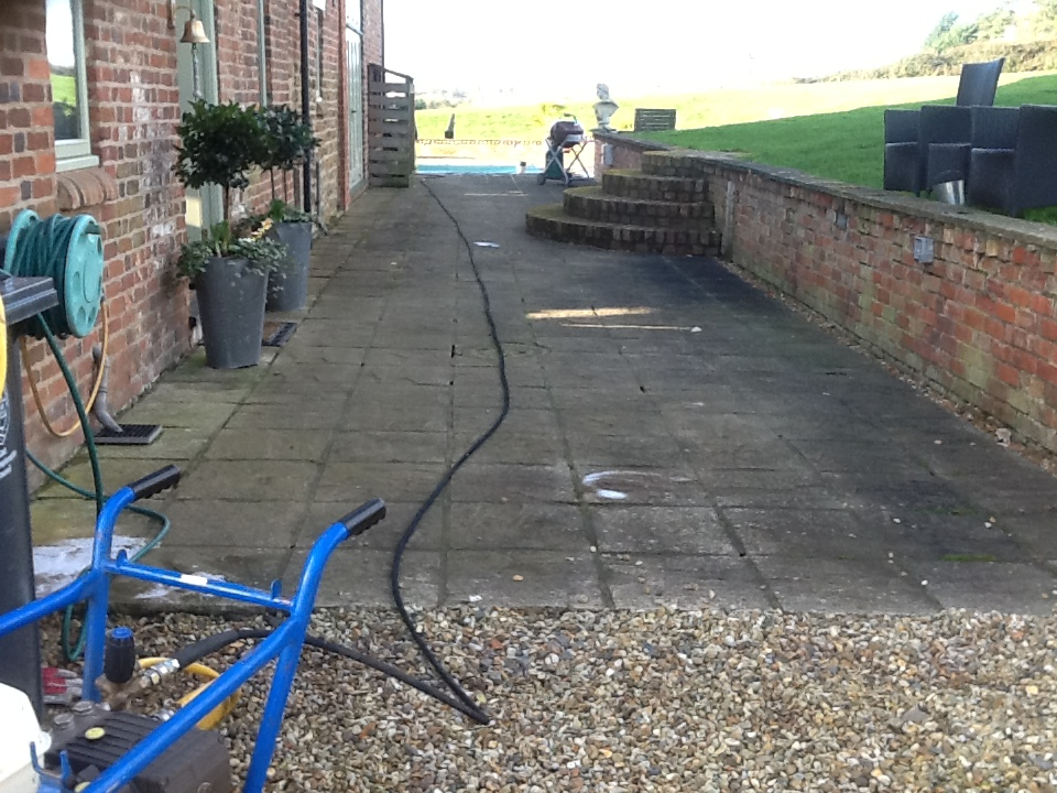 Sandstone Patio Brockhall Before Cleaning