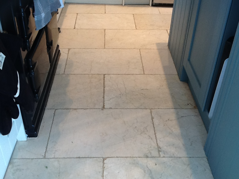 Polished Marble Floor Before Restoration in Great Doddington