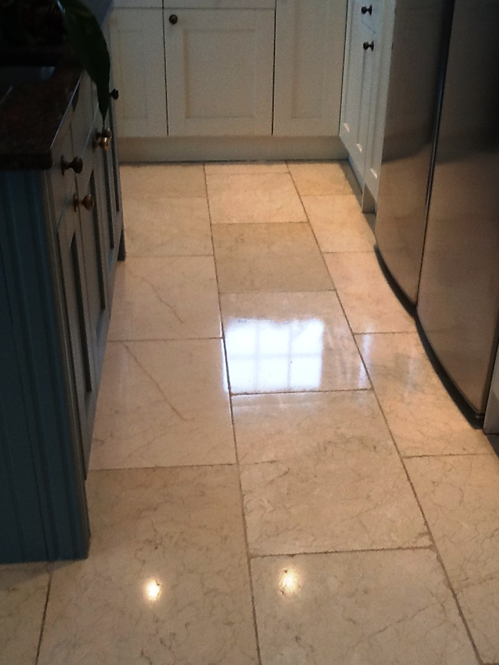 Polished Marble Floor After Restoration in Great Doddington