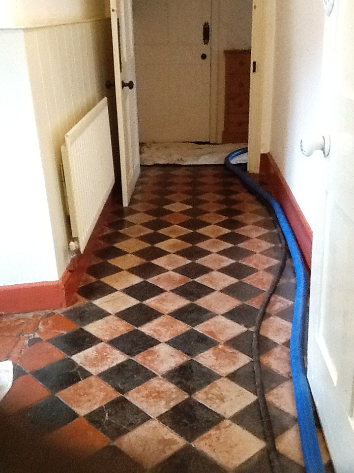 Colour Restored To A Faded Black And Red Quarry Tiled Floor In