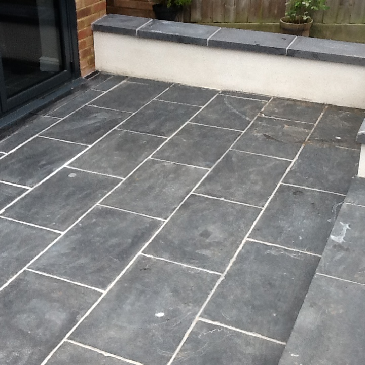 Slate patio tiles treated for grout haze and sealed in for Terrace tiles