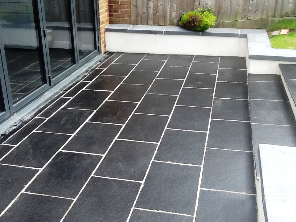 Patio Slate Tiles with Grout Haze Removed and Sealed in Brackley