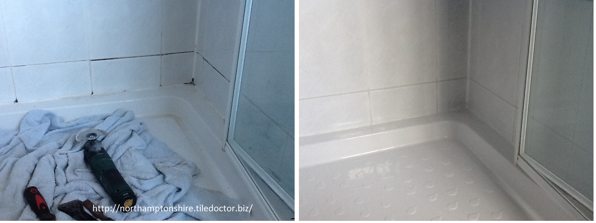 Mouldy shower cubicle before and after Northampton