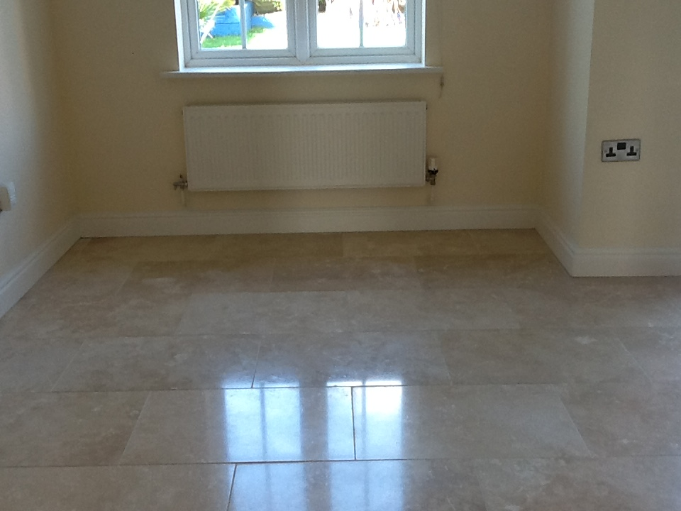 Pitted travertine after repair Oundle